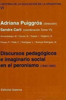Tapa del libro discursos pedagógicos e imaginario social en el peronismo - Adriana Puiggrós -