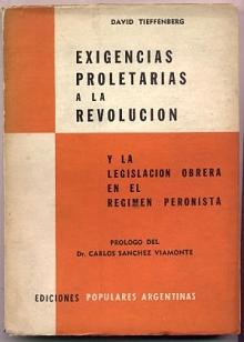 Tapa del libro Exigencias proletarias a la Revolución - David Tieffenberg -