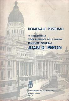 Tapa del libro Homenaje póstumo - Congreso de la Nación -