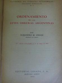 Tapa del libro ordenamiento de las leyes obreras argentinas - Alejandro Unsain -