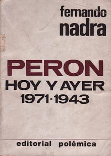 Tapa del libro Perón hoy y ayer - Fernando Nadra -