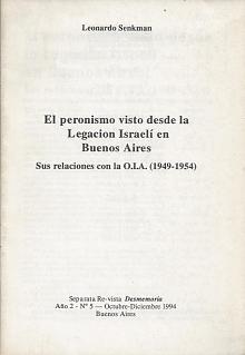 Tapa del libro el peronismo visto desde la legación israelí en buenos aires - Leonardo Senkman -