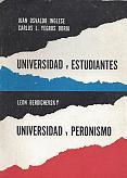 Tapa del libro Universidad y estudiantes - Juan Osvaldo Inglese y Carlos Yegros Doria -